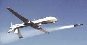A predator drone releases a hell-fire missile.