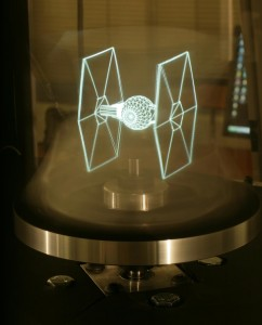 Wireframe 3D hologram of a Tie Fighter...Can't Breathe...Geek...Overload