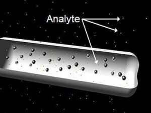 The CCNE implant uses antibodies to clump around important indicator particles (analytes).