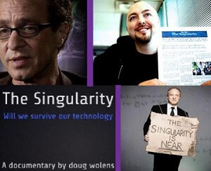 Four movies about the Singularity (clockwise from top left):Transcendent Man still shot, We Are The Singularity promotional pic, The Singularity is Near promotional pic, The Singularity Film tag line