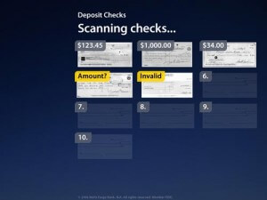 A mock-up of the check review screen shows how multiple checks can be scanned and printed for your records.
