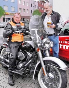 This patient, Mr. Wolf, is 73 and able to ride a Harley thanks to his treatments.
