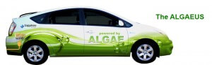 This car is traveling across the country...on algae based fuel. Cool.