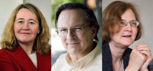 The winners of the nobel prize in medicine: Carol Greider, Jack Szostak, and Elizabeth Blackburn.