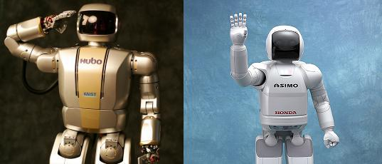 HUBO (left) has many of the characteristics of ASIMO (right) but that's to be expected from two humanoid robots. Right?
