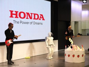 Comedy duo Gamarjabat performed with ASIMO on its recent 9th birthday party.