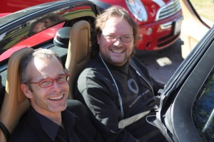 Andrew Hessel and David Orban get a chance to try out the Tesla Roadster. Nice perk.