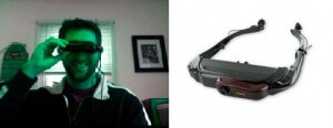 Craig Kapp (right) used Vuzix's new HMD (right) to create an AR demo.