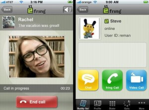 The newest application from Fring allows your  iPhone (or Nokia Symbian) to make video calls.