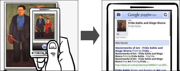 Google Goggles lets you perform visual searches using the camera on your Android phone.