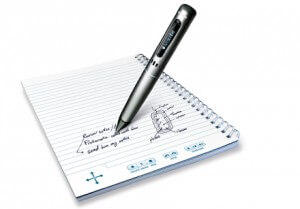 Using a small IR camera, the Pulse Smartpen synchronizes audio recording with your notes for playback.
