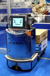Subaru's autonomous lifter and mover. Why does a cargo bot need a happy face?