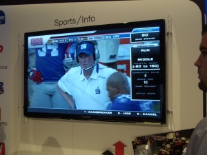 Speaking of TV...Samsung and others were touting systems that would integrate internet information into broadcasts. The right side of the screen demos how play predictions for a football game could be displayed right next to the game itself.