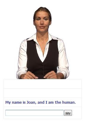 Joan, another one of Carpenter's chatterbots, uses videogrammetry to provide facial movements as it talks with you.