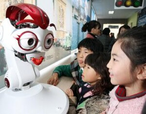robot teacher in Korea