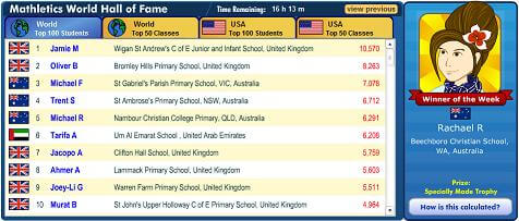 Mathletics Leaderboard