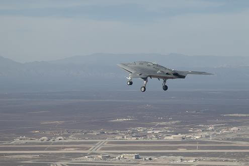 X-47 B drone jet fighter first flight