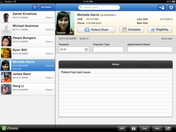 iPad App Patient List 1