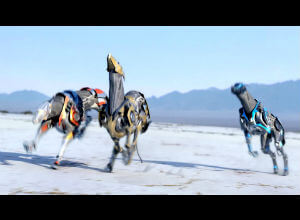 Robotic dogs remotely controlled by humans compete in a race in an ad for Absolut.