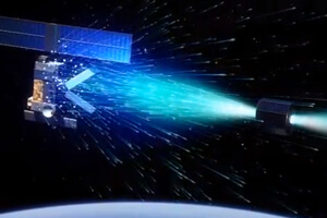 A solution to de-orbit old spacecraft by pelting them with ions from an ion-thrust engine.