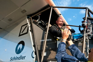 Solar Impulse co-founder, Bertand Piccard, celebrates his plane's maiden voyage.