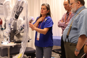 Catherine Mohr demoes the da Vinci surgical robot.
