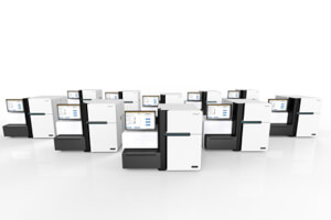 Illumina HiSeqX Ten genomic sequencing machine(s). Image Credit: Illumina.