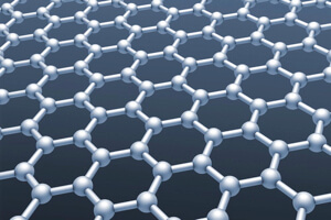 Graphene's hexagonal carbon lattice.