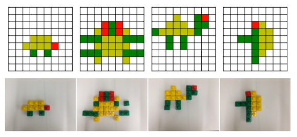 Crowdsourced turtles (above) and imitation images built in blocks by a Gambit robot (below).