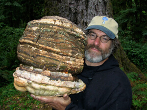 Paul Stamets holding an Agarikon mushroom.