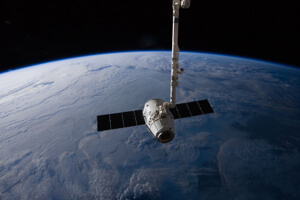 SpaceX Dragon capsule leaves the International Space Station.