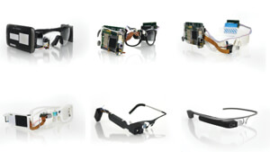The evolution of Google Glass prototypes.