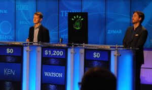 IBM's Watson, seen here defeating two Jeopardy champs, is now available to businesses and developers.