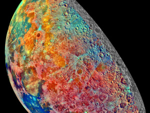 A NASA/JPL false-color mosaic of the Moon shows varying mineral content over its surface.