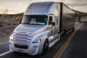 Daimler driverless Freightliner Inspiration truck.