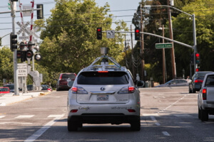 Google self-driving car waiting for a light in Mountain View, California.