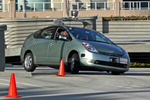 Google self-driving Prius navigates an obstacle course.