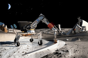 Concept sketch of a robotic 3D printer building up a structure on the moon.