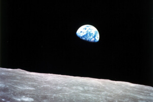 Earthrise captured by the Apollo 8 crew in 1968.