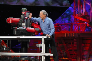 Rodney Brooks, cofounder of iRobot and founder of Rethink robotics, plays around with Baxter during a TED talk.