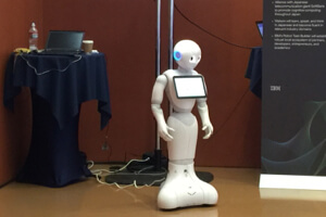 Pepper: A Japanese robot that communicates with people in natural language by tapping into IBM Watson's database.
