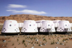 Mars One concept sketch of Martian habitats.