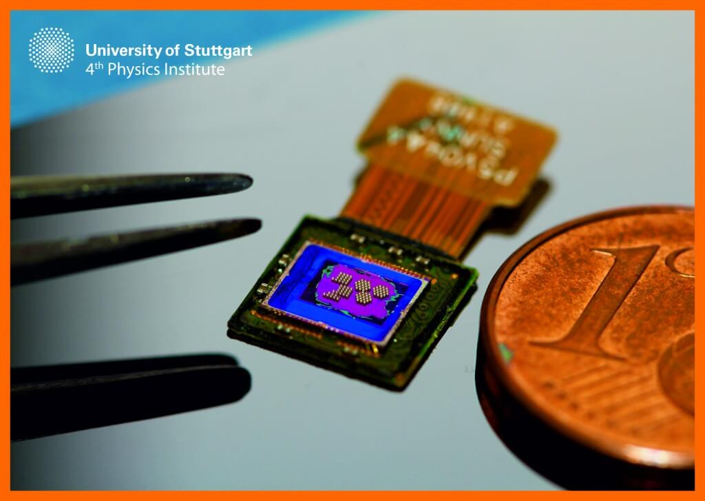 The array of doublet lenses pictured here were printed directly onto a CMOS image sensor. Image credit: Timo Gissibl/University of Stuttgart