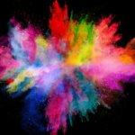 innovation creativity explosion colored powder on black background