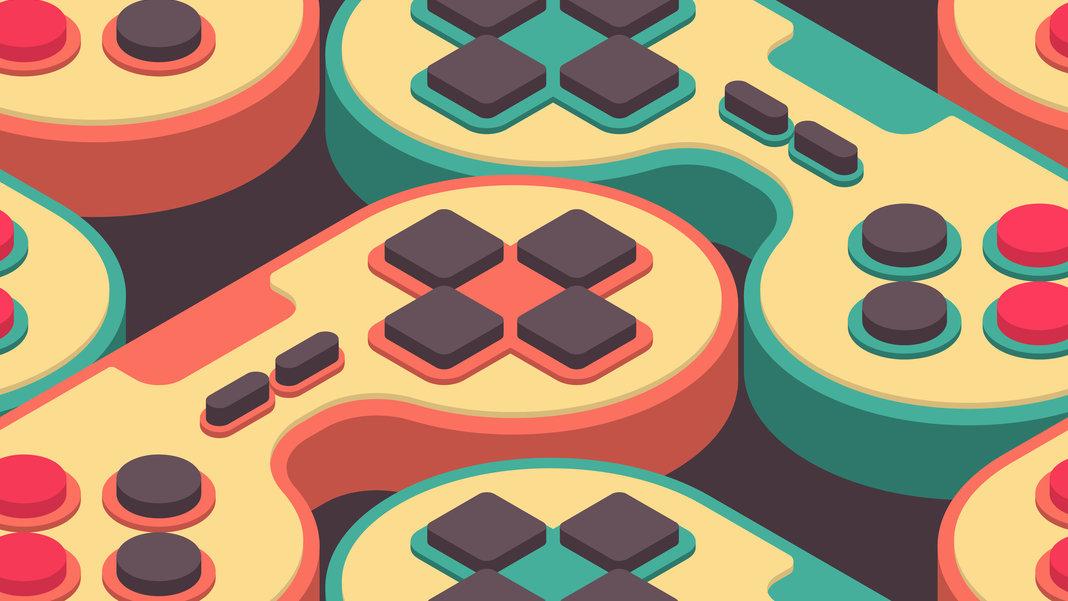 colorful-retro-video-game-controllers-creative
