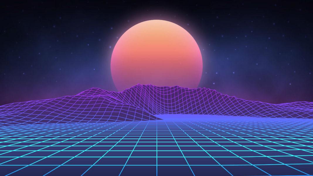 futuristic-retro-landscape-digital-sun-setting-desert-80s