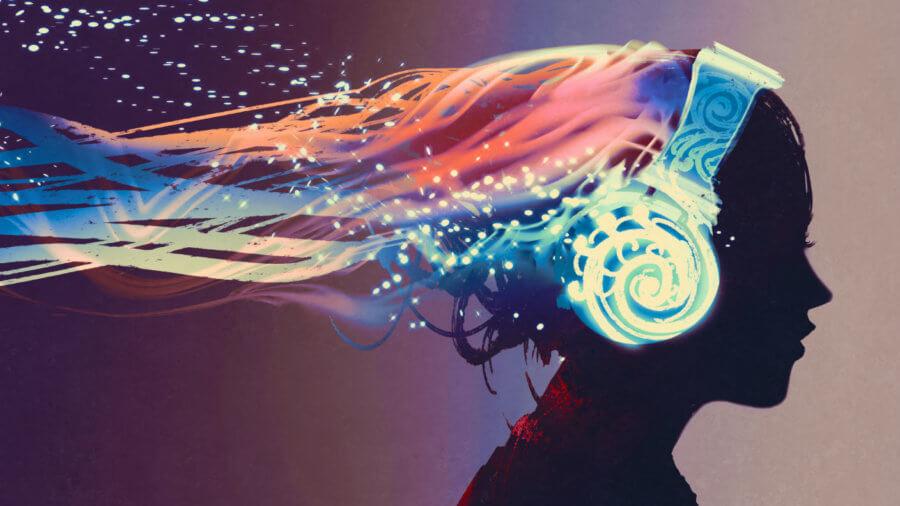 tech-imagination-age-illustration-woman-magic-glowing-headphones