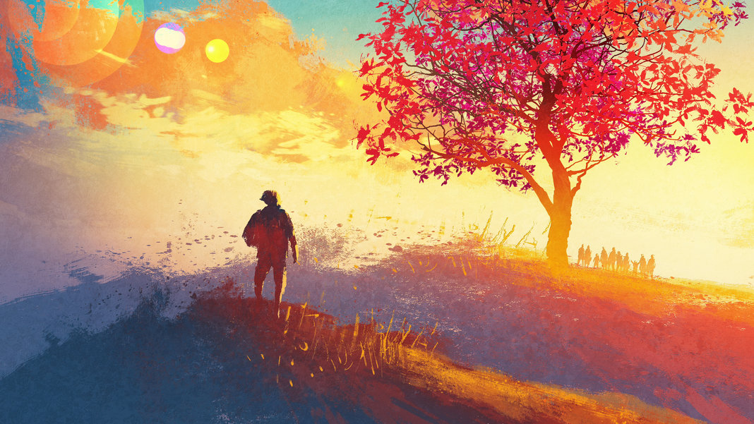 virtual-reality-filmmaking-illustration-sunset-man-staring-surreal-tree