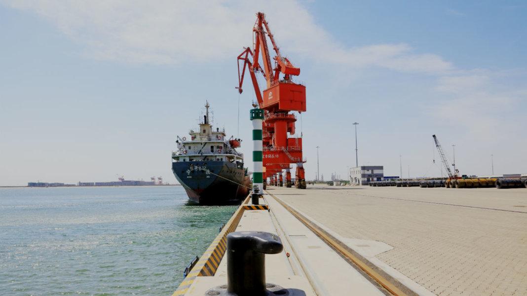 autonomous-robot-ports-Caofeidian-China-cargo-ships-tower