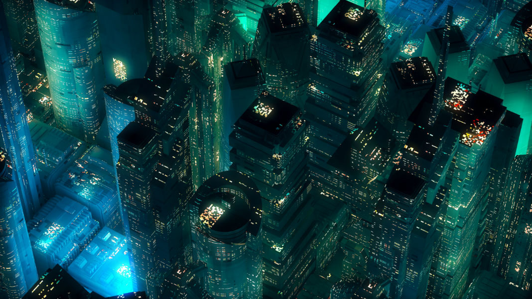 energy-battery-storage-green-neon-city-skyscrapers-modern-technology